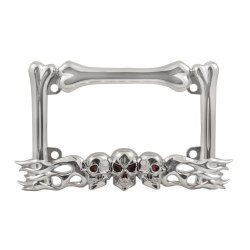 Skull Flames Motorcycle License Plate Frame