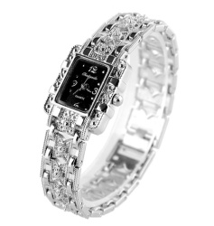 Square Head Silver Ladies Watch Bow with Gold Bracelet Watch -Silver - intl