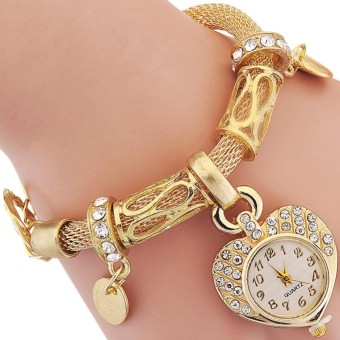 SS Women Fashion Bracelet Watches Heart-Shaped Dial Clock Quartz Watches with Jewelry Clasp - intl