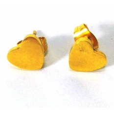 Stainless Gold Heart Earrings With Free Heartbeat Stud Steel