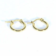 Stainless Gold Loop Earrings Small With Free Notes Steel Stud