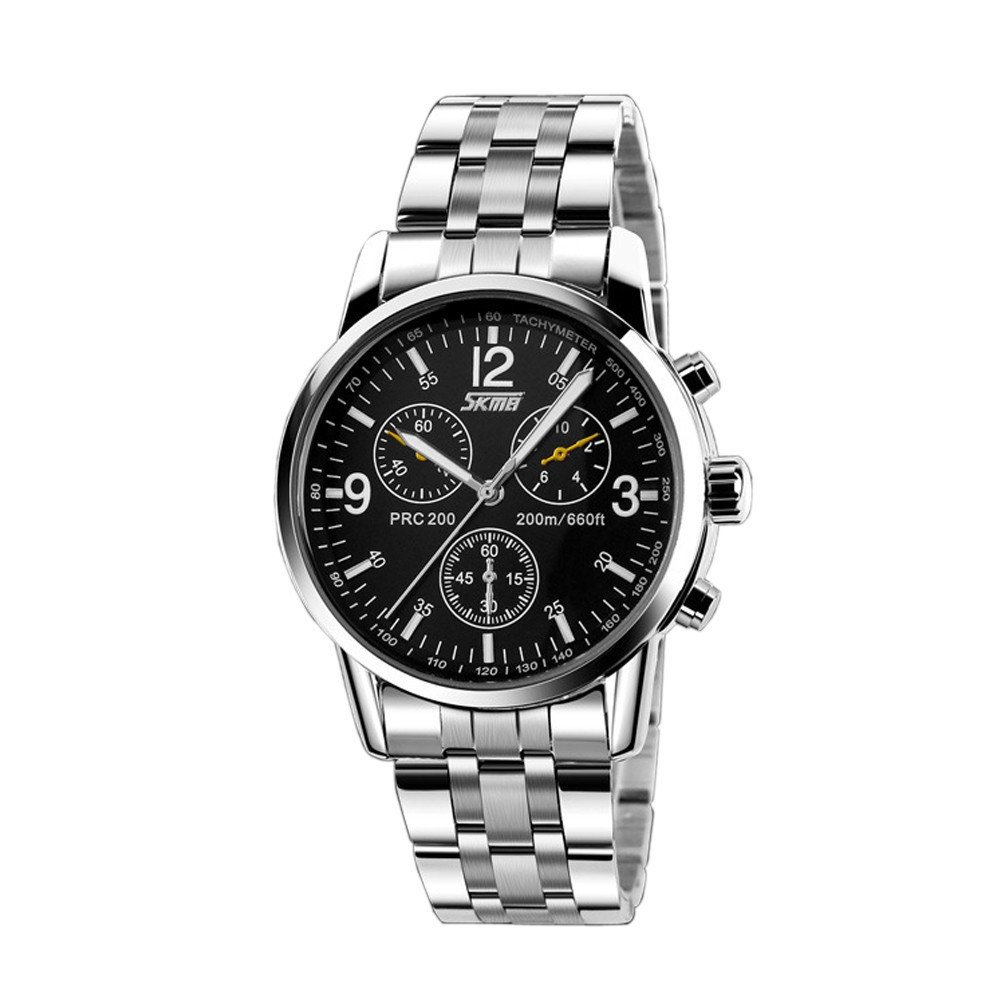 Stainless Steel Band Analog Quartz Sport Mens Wrist Watch Black product preview, discount at cheapest price