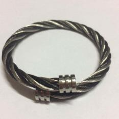 STAINLESS STEEL BANGLE SILVER BLACK TWISTED CABLE BRACELET FOR MEN