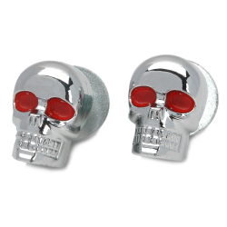 Stylish Skull Style Decorated DIY Screw for Harley Motorcycle - Silver + Red (2 PCS)