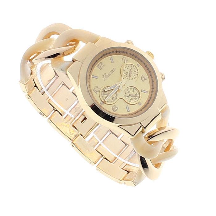 Stylish Womens Fashion Watch Stainless Steel Band Quartz Wristwatch New Beige