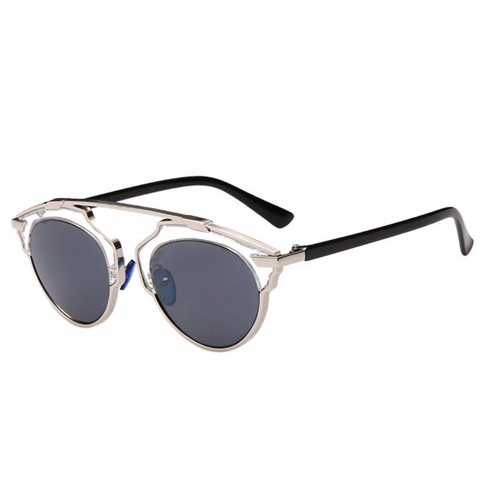 Sunglasses Cat Eye Vintage Mirror Lens Siliver+Black product preview, discount at cheapest price