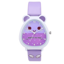Super Cute Cat Cartoon Waterproof Kids Children Quartz Watch Leather Wristwatches for Girls and Boys ( Purple ) - intl