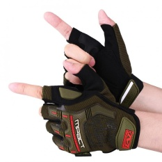Sweatbuy 1 Pair Motorcycle Motocross Cycling Racing Riding Half Finger Protective Gloves Army Green M - intl