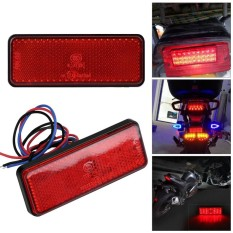 PHP 262. Sweatbuy Universal Motorcycle Scooter Moped Rectangle LED Reflector Tail Brake Light Stop Lamp Red ...