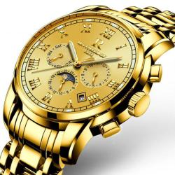 Swiss Men's Stainless Steel Gold Automatic Mechanical Watch - Intl