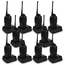 Teamup T668S Walkie Talkie FM Transceiver Set of 10 (Black)