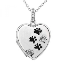 lockets locket pin dog paw print heart paws silver sterling