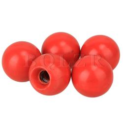 Threaded Knob Plastic Machine Control Handle Ball Set of 5 (Red)