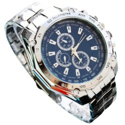Three Eyes Six Steel Needle Fashion Men's Business Watch Blue