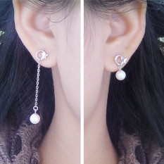 Jewelry Design Body 925 Silver the Splendour Non-symmetrical Series Length Ear Stud Earrings Cool