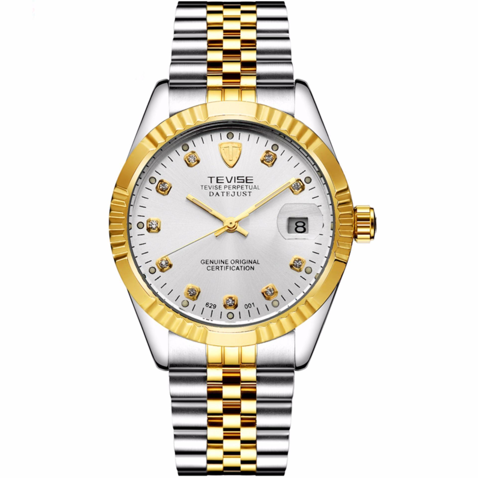 Top Brand Luxury Waterproof Automatic Watch Men Mechanical Watch Luminous Sport Casual Watch Relogio Automatico Masculino TEVISE(White) - intl