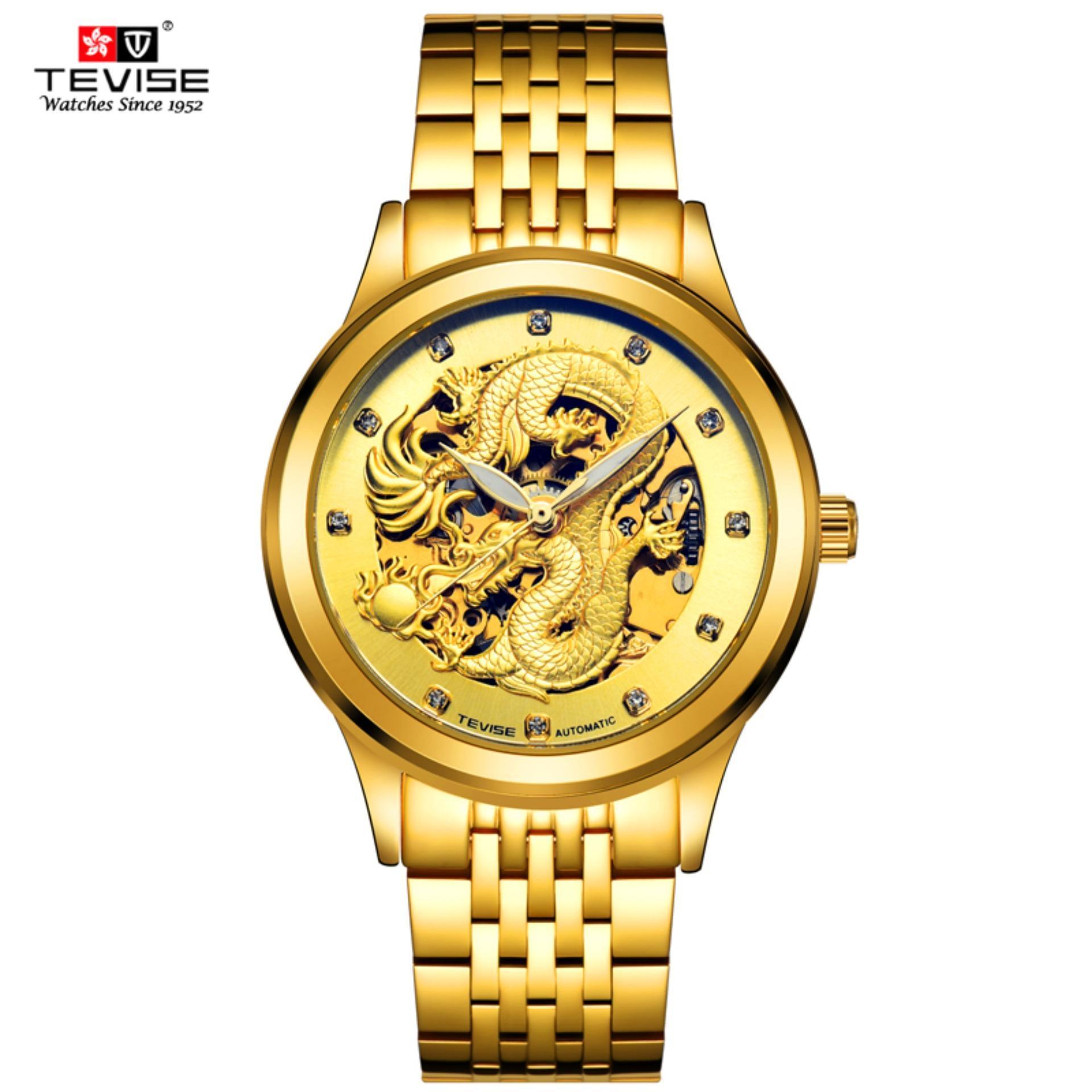 Top Brand Tevise Luxury golden 3D Chinese dragon Hollow design transparent dial Diamond Waterproof Men Automatic Mechanical Watch - intl