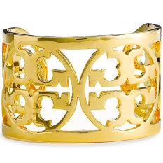 Tory Burch Curved Logo Cuff Bracelet (Gold)