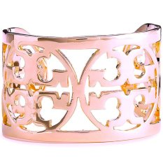 Tory Burch Curved Logo Cuff Bracelet (Rose Gold)