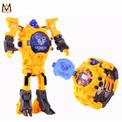 Transforming Robot Watch Toys LED digital Watch 2 in 1 (Yellow)