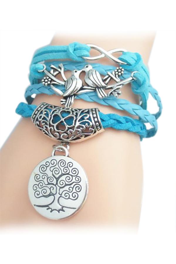 Tree Pattern Weaved Friendship Bracelet (Blue) (Intl) - thumbnail