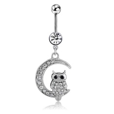 Trendy White Moon Owl Pendant Navel Piercing Women Belly Button Ring Piercing Jewelry - intl