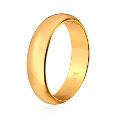 U7 18K Real Gold Plated Simple Couple Band Ring With 18K Stamp Fashion  Women/Men Jewelry Perfect Accessories (Gold) - INTL