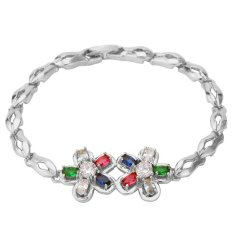U7 Colorful Zircon Bracelet Platinum Plated Women Romantic Flower Zirconia Jewelry Chain Bracelet (Platinum)
