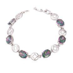 U7 Luxury Cubic Zirconia Platinum Plated Women Chain Bracelet (Platinum) - INTL