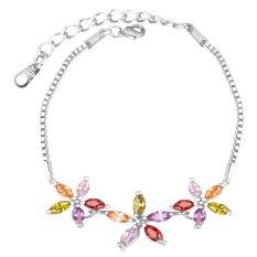 U7 Platinum Plated Luxury Cubic Zirconia Flower Adjustable Bracelet (Platinum) - INTL
