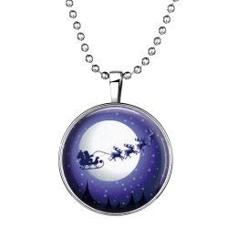 Ufengke Christmas Creative Round Shaped Santa Claus With Reindeer Noctilucent Pendant Necklace   - Intl