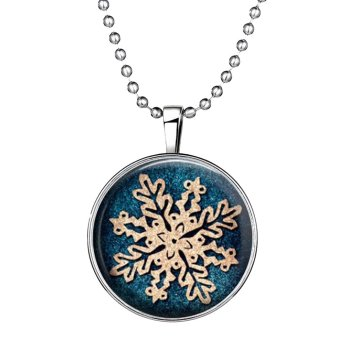Ufengke Christmas Cute Round Shaped Snowflake Noctilucent Pendant Necklace - Intl