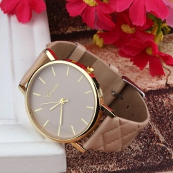 Unisex Casual Geneva Checkers Faux Leather Quartz Analog Wrist Watch KH - intl