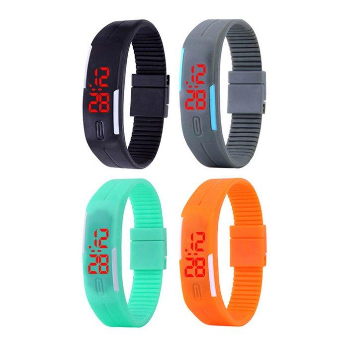 Unisex Rubber Strap LED Digital Wrist Watch, Set of 4 (Multicolor) - thumbnail