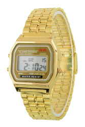 Unisex Stainless Steel Digital Led Display Wrist Watch Gold