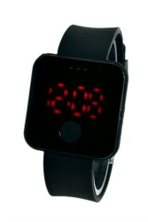 Unisex Ultra Thin Digital LED Light Sports Wrist Watch - Black