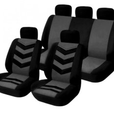 Universal Car Seat Cover Set 9Pcs Seat Covers Front Seat Back Seat Headrest  Cover Mesh Black