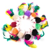 Vakind 10 Pcs False Mouse Pet Toys Mini Playing Toys with Colorful Feather - intl image on snachetto.com