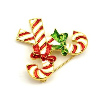 Vanker Xmas Christmas Gift Santa Claus Shirt Decor Alloy Gold-plated Brooch Pin Crutch Style