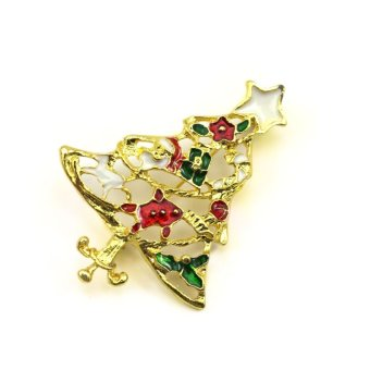 Vanker Xmas Christmas Gift Santa Claus Shirt Decor Alloy Gold-plated Brooch Pin Gold Tree Style