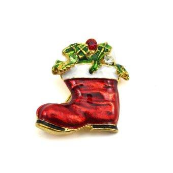 Vanker Xmas Christmas Gift Santa Claus Shirt Decor Alloy Gold-plated Brooch Pin Shoe Style