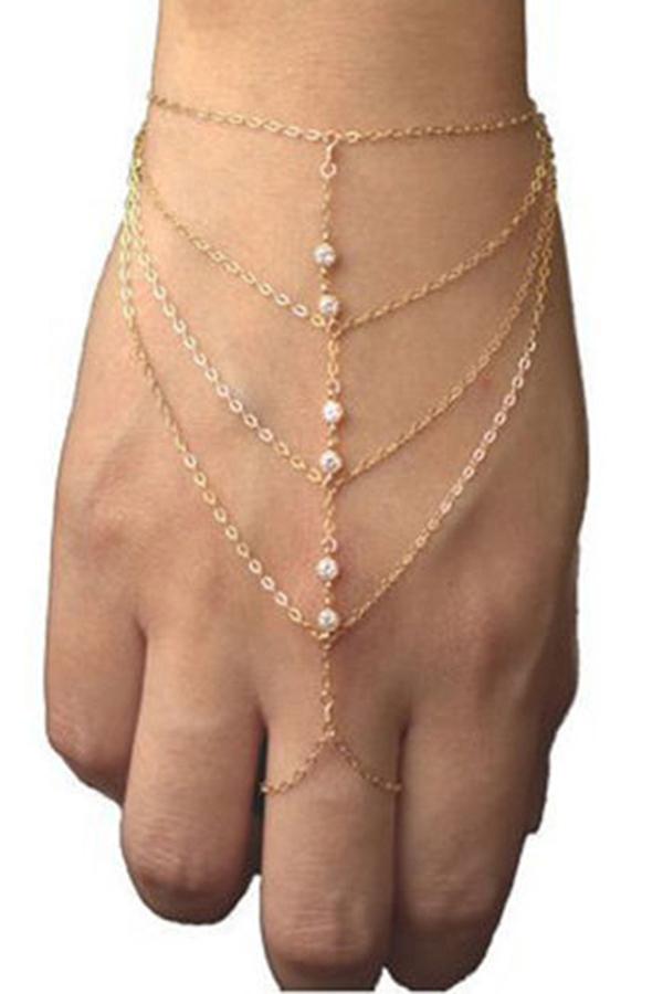 Velishy Bracelet Bangle Multi Chain Tassel Finger Ring Gold Gold - thumbnail