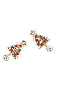 Velishy Christmas Tree Star Crystal Earrings