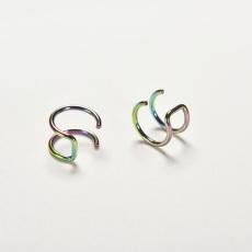 Velishy New Men Women Chic Clip-on Earrings Non-piercing Cartilage Ear Clip Rainbow