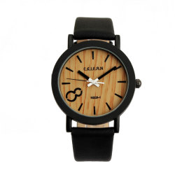 Vintage Men Wooden Dial Quartz Casual Black Leather Wrist watch