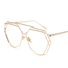 c92ae3b016 Vintage Polygon Oversized Glasses Clear Lens Female Fashion Gold Frame  Designer Big Eyeglasses Frame Women Metal