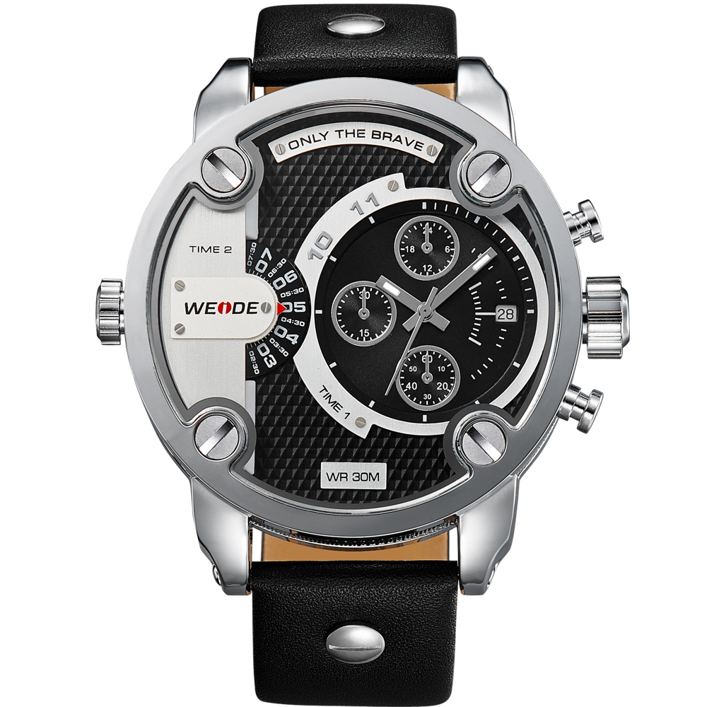 Weide Black Genuine Leather Men's Watch Wh3301-1C-Black Dial