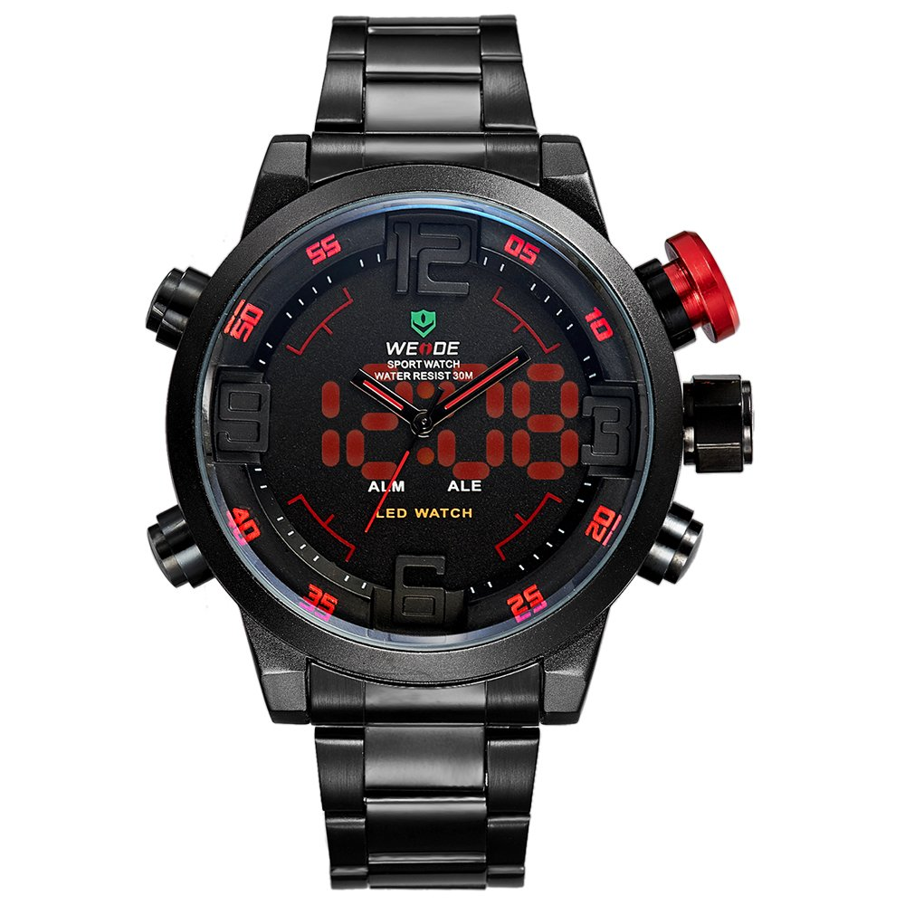 Weide Black Stainless Steel Band Men's LED Watch Wh2309B-2C-Red Index