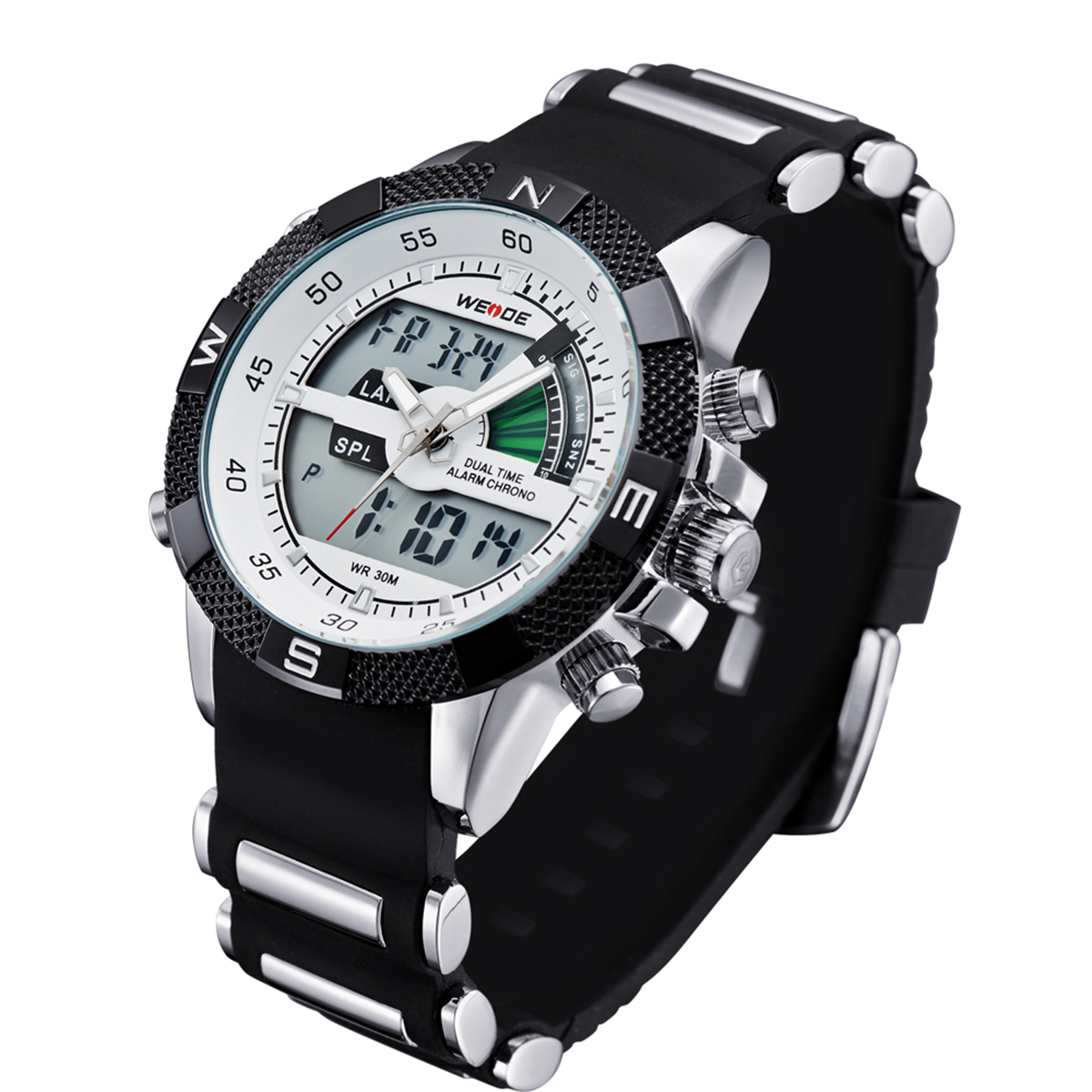 WEIDE WH1104PU-BW Men's Resin Band Quartz Digital Analog Wrist Watch - White
