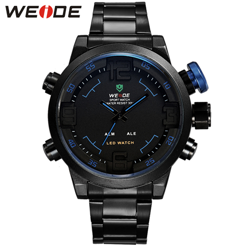 Weide WH2309 Full Black Analaog/Digital Sport LED Watch Blue - thumbnail
